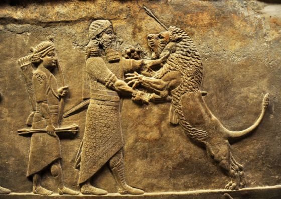 Lion Hunt, From The North Palace Of Nineveh, Assyria 645-635. Historical Print/Poster (5179)